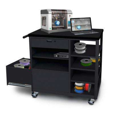 36 in. 3D-Printer Cart Workbench 1 Front Drawer in Black