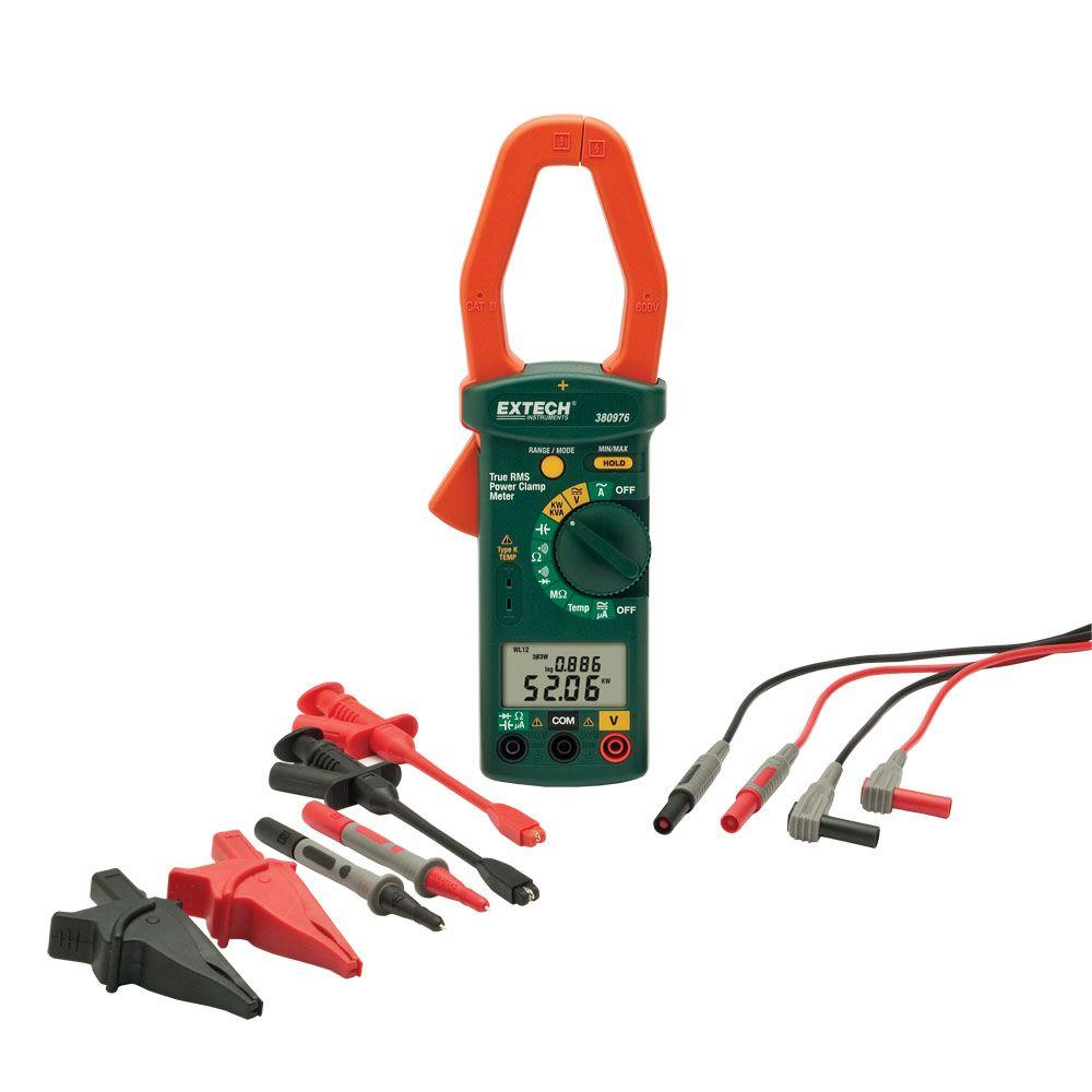 Extech Instruments Manual Clamp Meter HVAC (CATIV-600-Volt Test Leads)