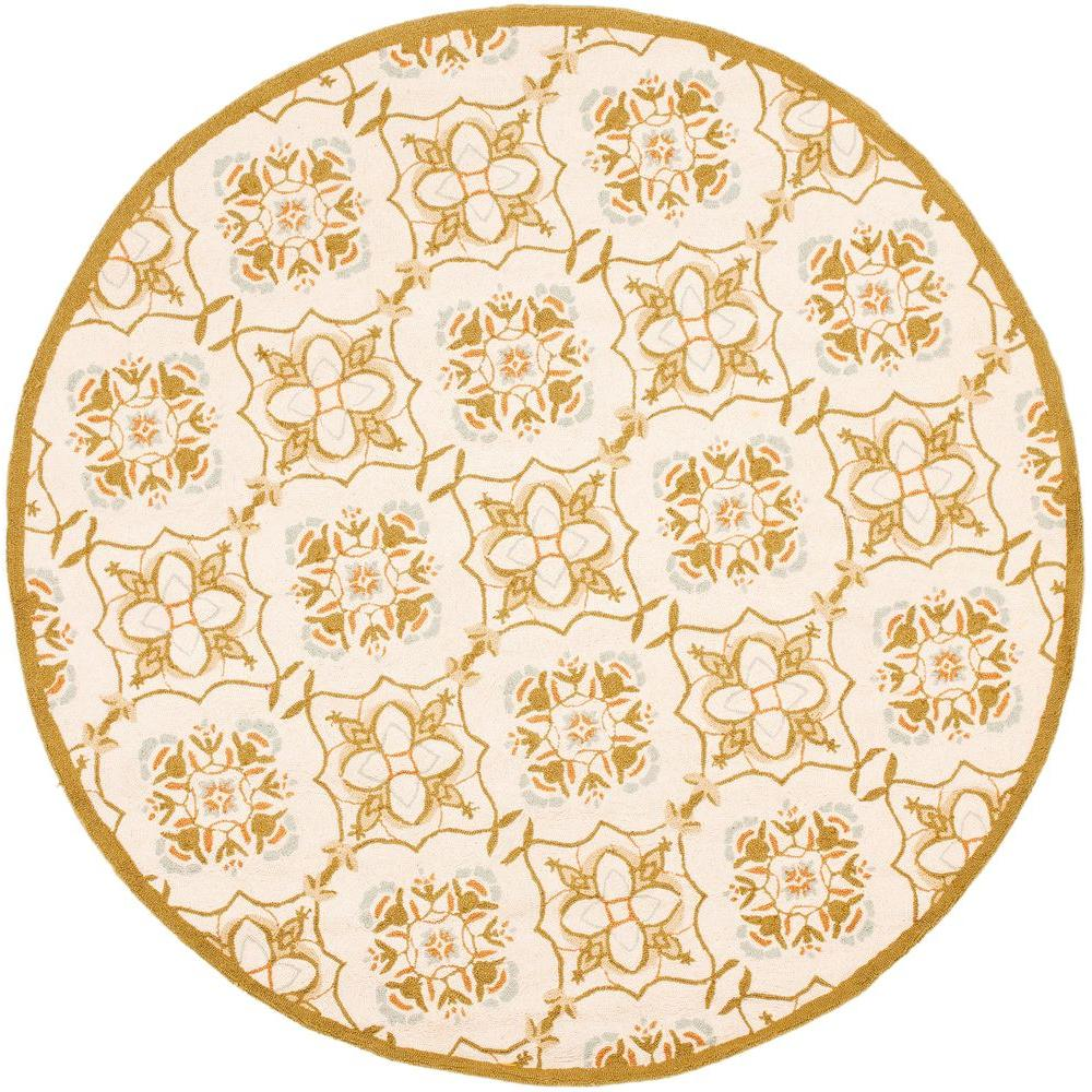 Chelsea Ivory/Green 4 ft. x 4 ft. Round Area Rug