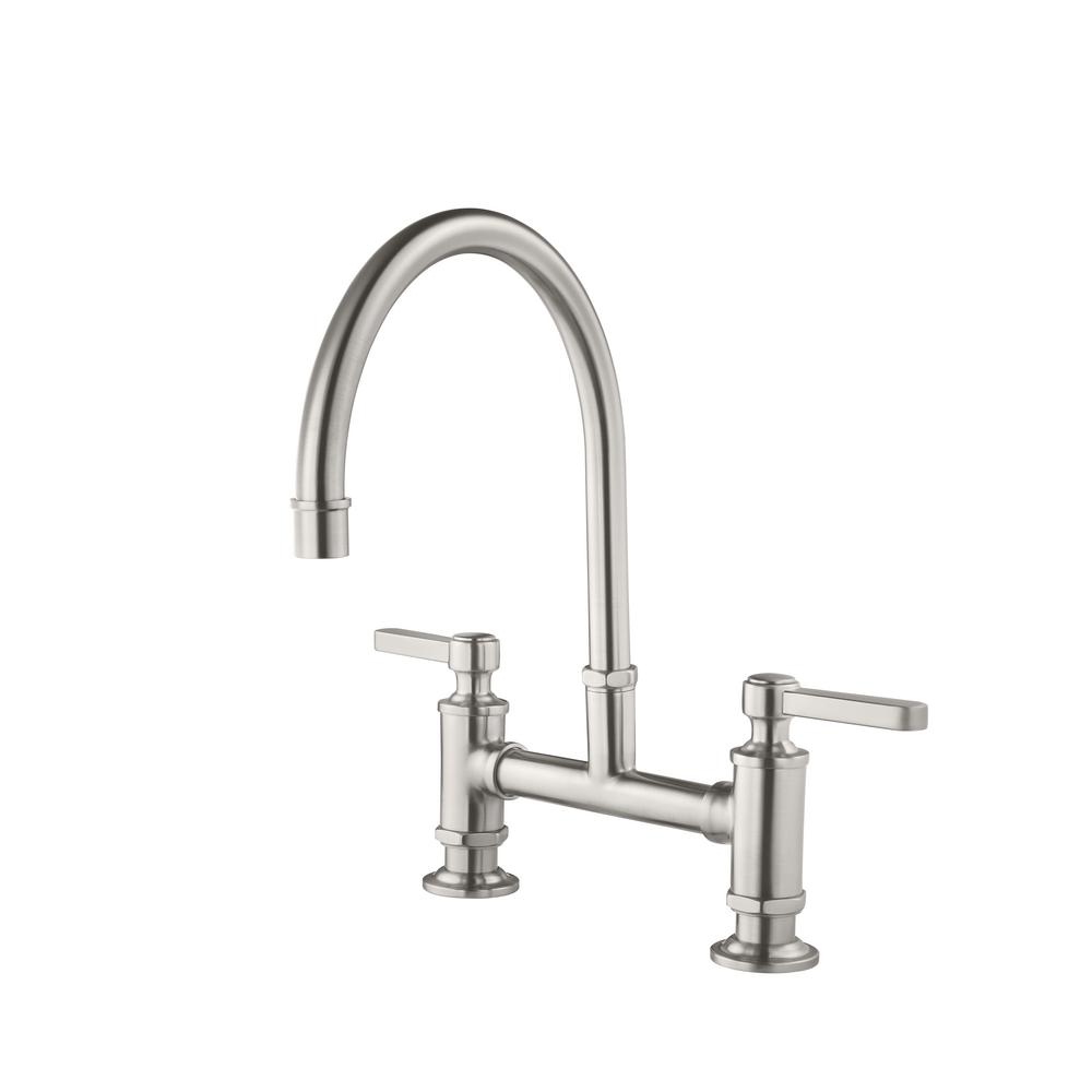 pfister port haven 2 handle bridge kitchen faucet in stainless steel rh homedepot com