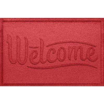 Simple Welcome Solid Red 24x36 Polypropylene Door Mat