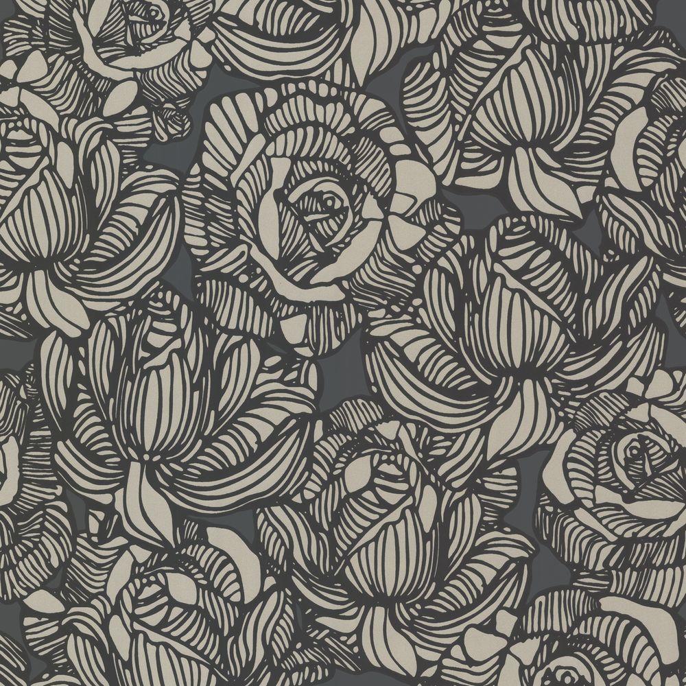 Calista Black Modern Rose Wallpaper