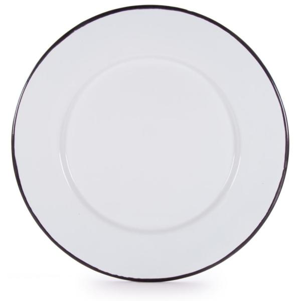 Rolled Edge Black Enamelware Dinner Plate (Set of 4)