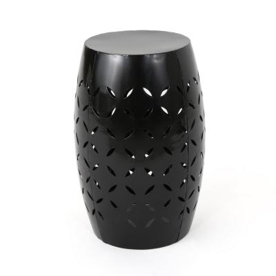 Lilac Black Round Metal Outdoor Side Table