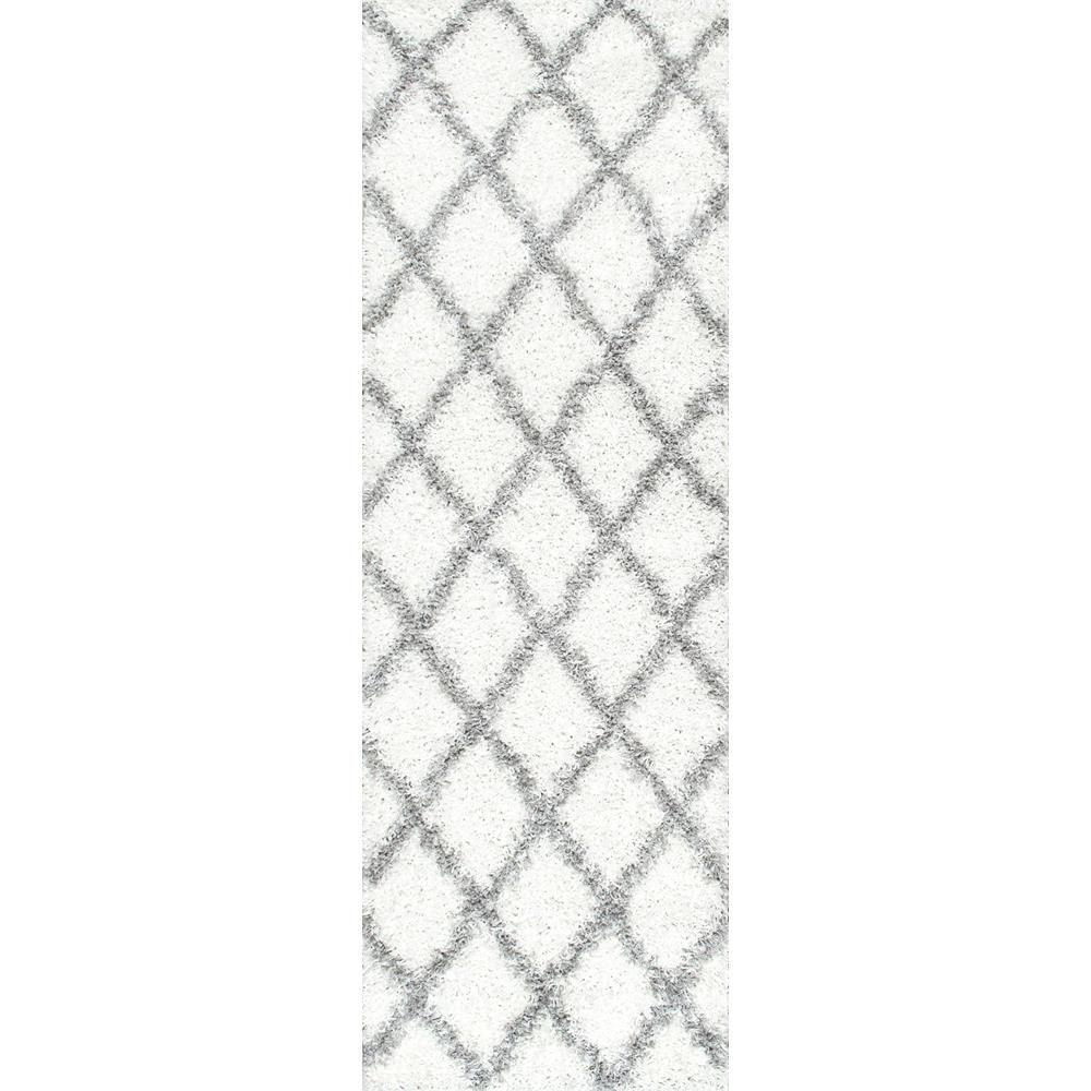 nuLOOM Shanna Shag White 3 ft. x 8 ft. Runner Rug