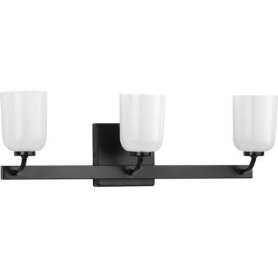 Progress Lighting Moore Collection 3-Light Matte Black White Opal Glass Luxe Bath Vanity Light