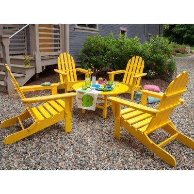 yellow patio furniture. Classic Lemon 5-Piece Folding Adirondack Patio Conversation Group Set Yellow Furniture W