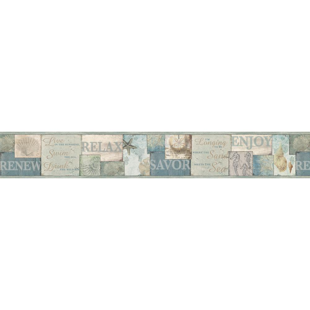 Chesapeake Sagamore Blue Cape Cod Wallpaper Border Sample