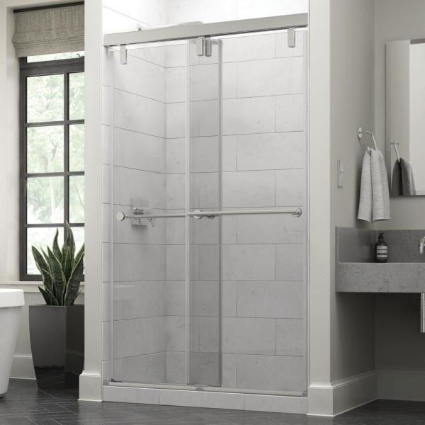 Everly 48 in. x 71-1/2 in. Mod Semi-Frameless Sliding Shower Door in Chrome and 3/8 in. (10mm) Clear Glass