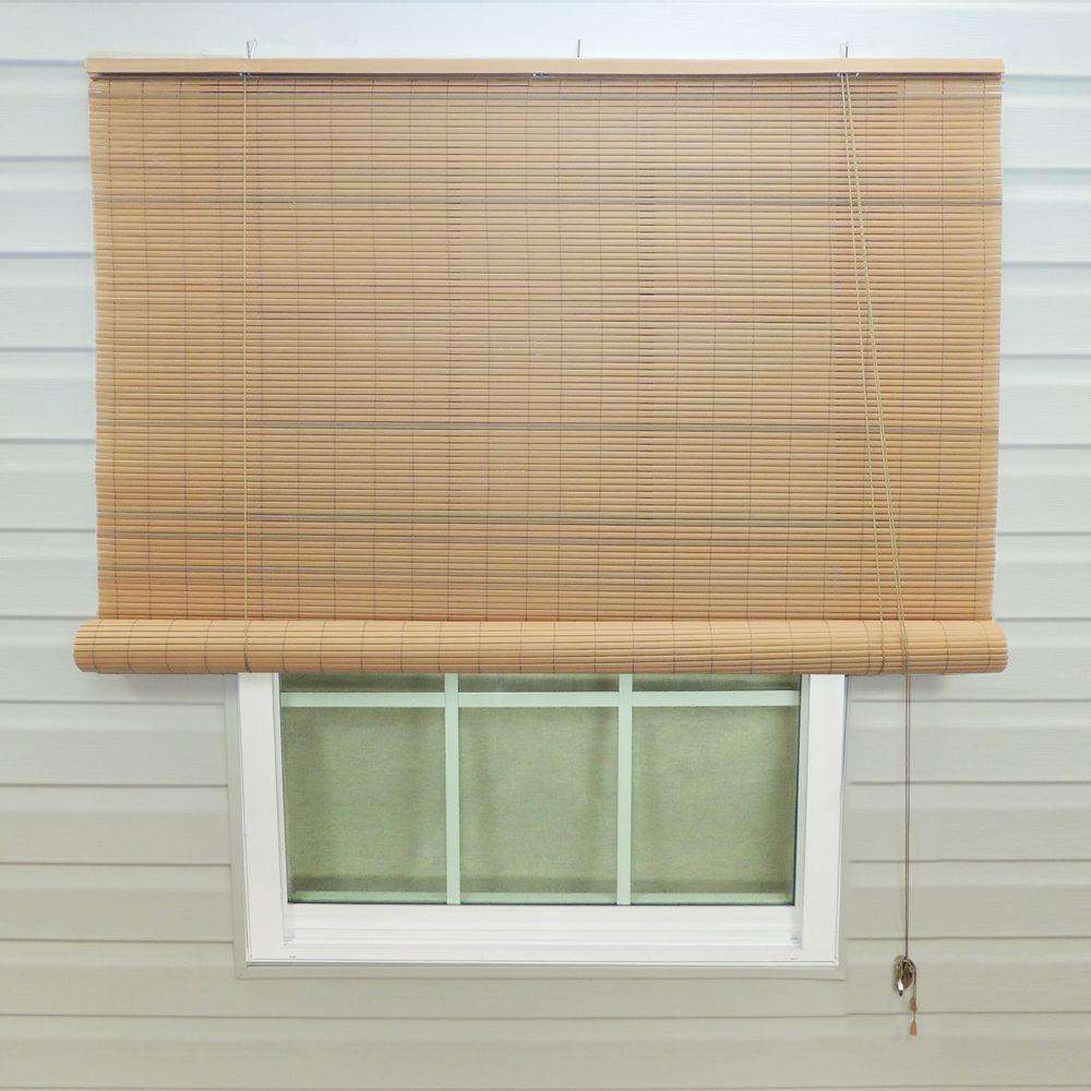 Roll Up Sun Shades >> 36 In W X 72 In L Tan Woodgrain Exterior Roll Up Patio Sun Shade