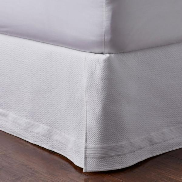 Box Pleated Bed Skirt Cotton Tailored Drop Length Pleated Styling White