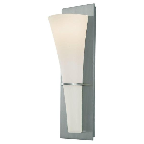 Barrington 5.25 in. W. Brushed Steel Wall Sconce with Opal Etched Glass Shade