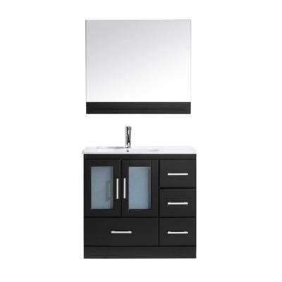 Zola 36 in. W Bath Vanity in Espresso with Ceramic Vanity Top in White with Square Basin and Mirror and Faucet