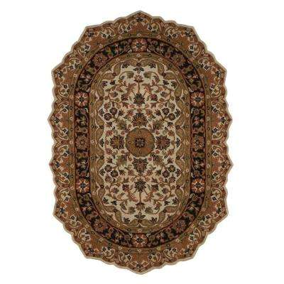 Masterpiece Beige and Black 8 ft. x 10 ft. Oval Area Rug
