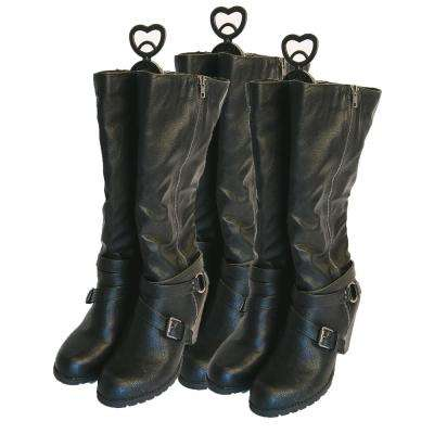 3-Pair Black Plastic Boot Clips with Scented Pouch Shoe Organizer
