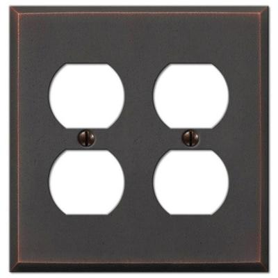 Manhattan 2 Gang Duplex Metal Wall Plate - Aged Bronze