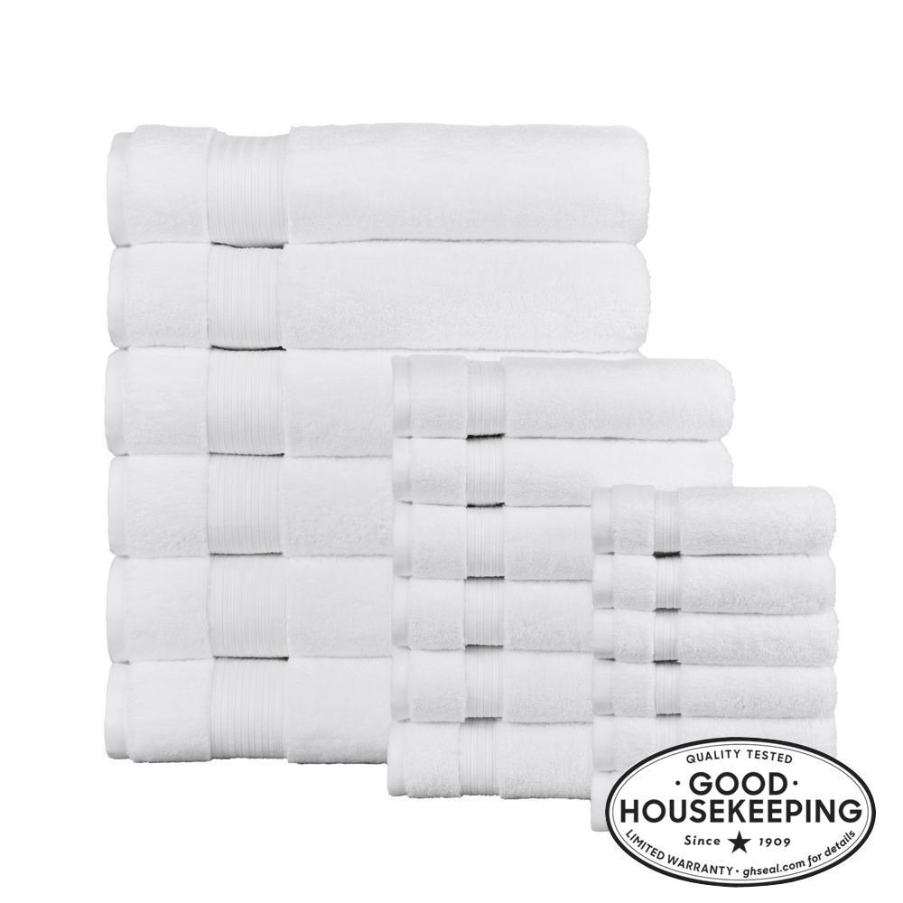 Egyptian Cotton 18-Piece Bath Sheet Towel Set in White
