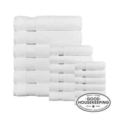 Egyptian Cotton 18-Piece Bath Sheet Towel Set in White
