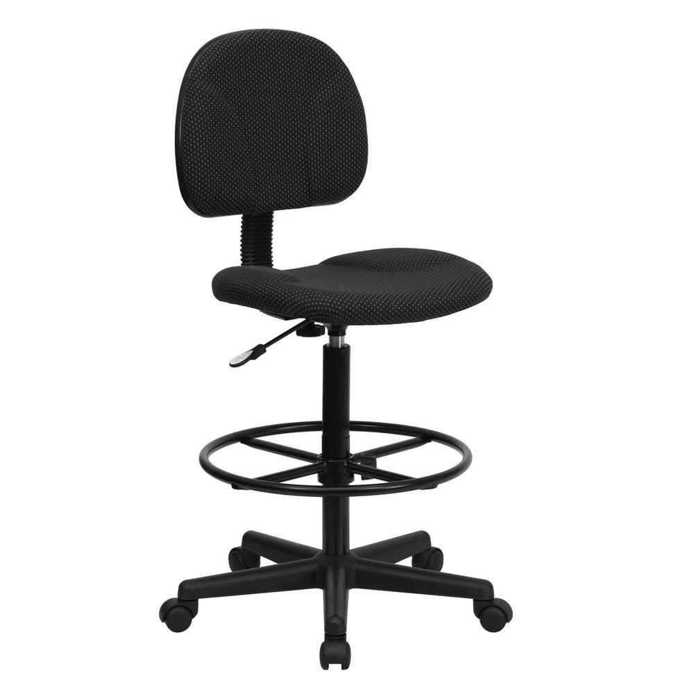 Flash Furniture Black Patterned Fabric Ergonomic Drafting Chair (Adjustable  Range 22.5 In.   27