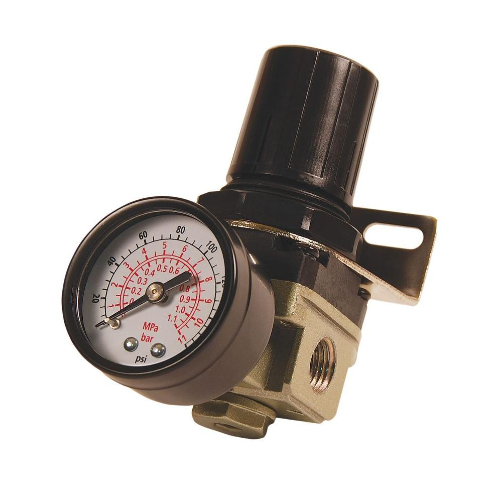 1/4 in. NPT Mini Air Regulator with Steel-Protected Gauge
