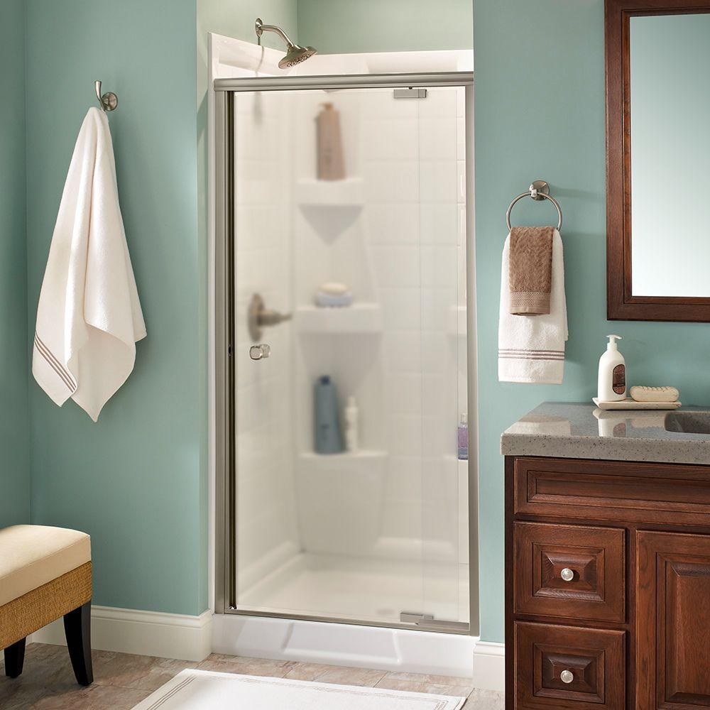 Delta Mandara 36 in. x 66 in. Semi-Frameless Pivot Shower Door in Nickel with Niebla Glass