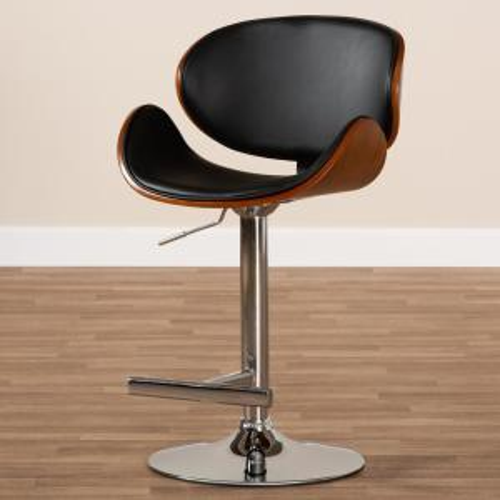 Superb Baxton Studio Ambrosio 36 45 In Black Adjustable Swivel Bar Uwap Interior Chair Design Uwaporg