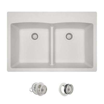 All-in-One Drop-in Granite Composite 33 in. 5-Hole Low-Divide Equal Double Bowl Kitchen Sink in White