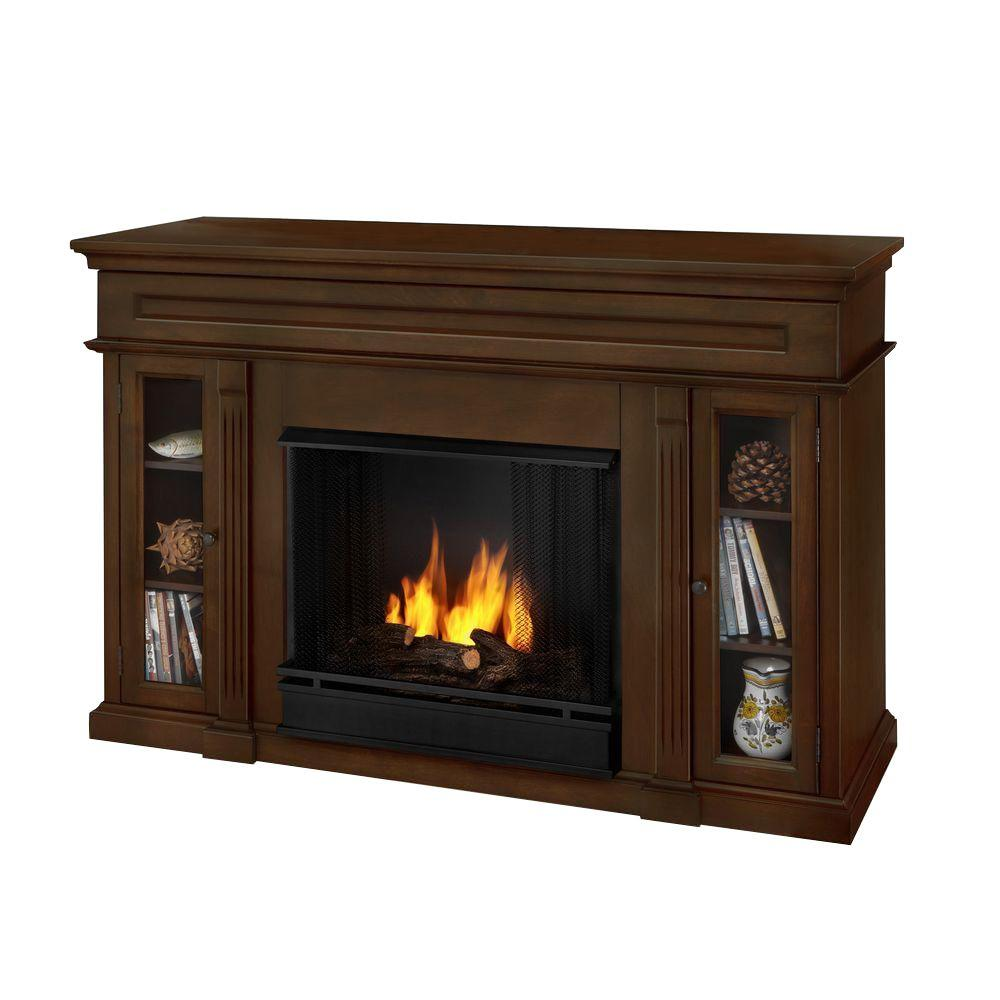 Real Flame Lannon 51 in. Media Console Gel Fuel Fireplace in Espresso