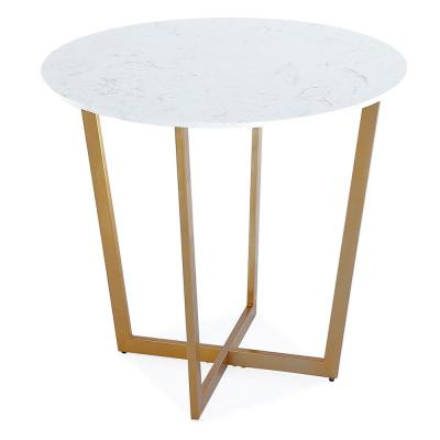 35.1 inch Height Dining Table with Marble Top and Stainless Steel Brushed Golden Base