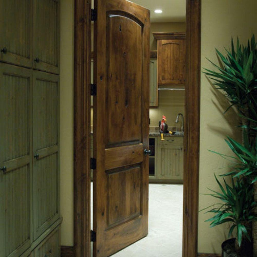 on sale d2ac7 8af12 Krosswood Doors 28 in. x 96 in. Rustic Knotty Alder 2 Panel Top Rail Arch  Solid Wood Right-Hand Single Prehung Interior Door