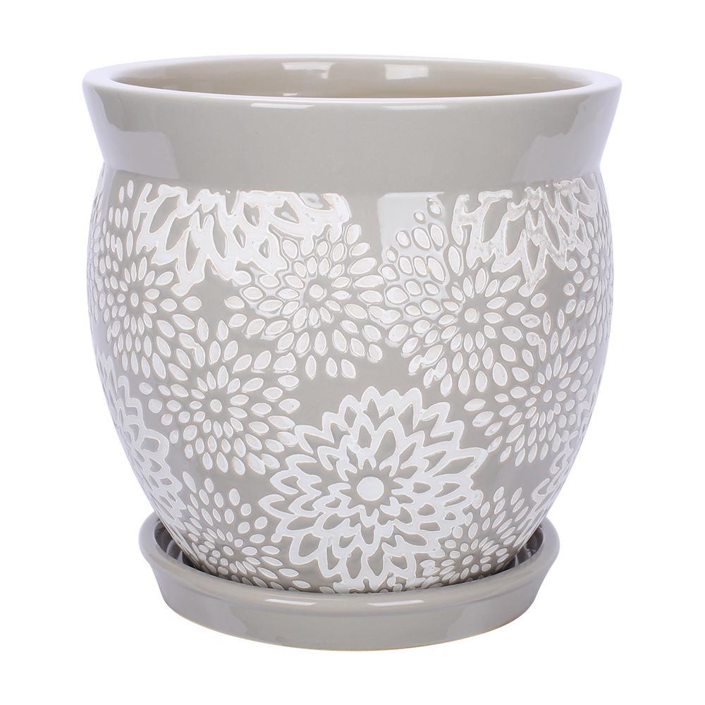 Southern Patio Farrah 7 in. Dia Gray Ceramic Planter