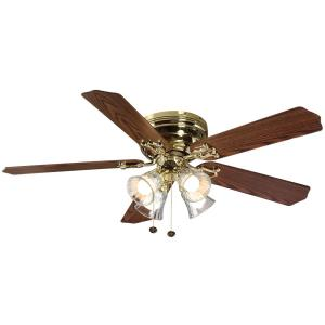 Hampton Bay Carriage House 52 In Led Indoor Polished Brass Ceiling Fan With Light Kit 46008