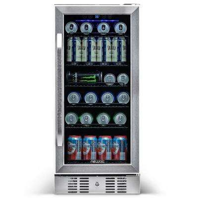 15 in. 96 (12 oz) Can Built-In Beverage Cooler Fridge w/ Precision Temp. Controls, Adjustable Shelves - Stainless Steel
