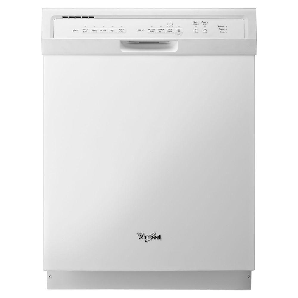whirlpool 24 in front control built in tall tub dishwasher in white with stainless steel tub. Black Bedroom Furniture Sets. Home Design Ideas