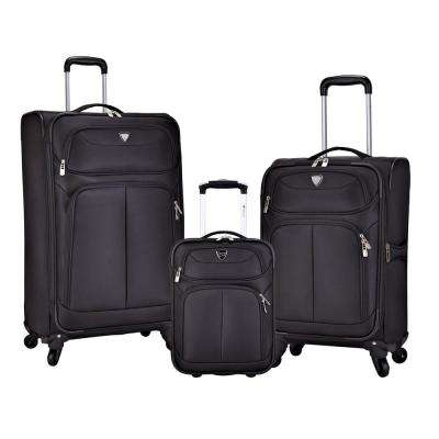 3-Piece Black Softside Luggage Collection with 28 in., 20 in. and 17 in. Vertical Rolling Cases
