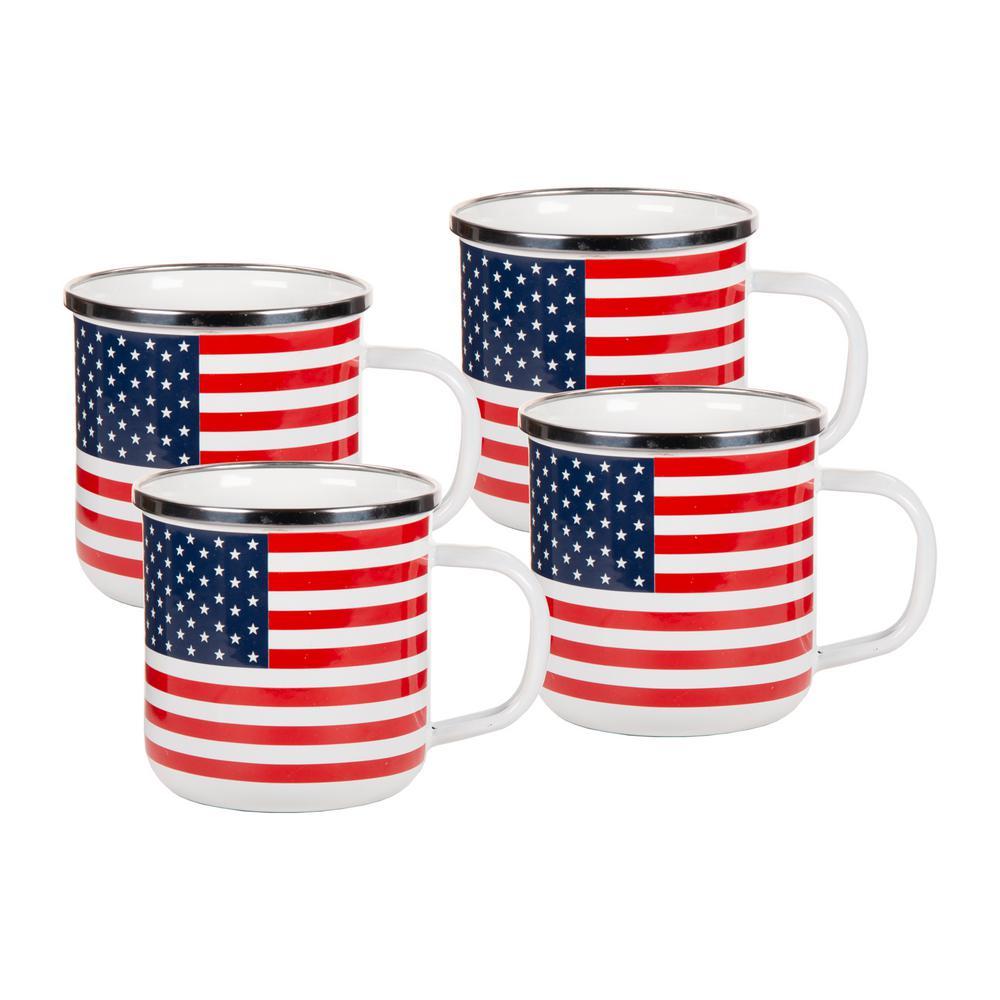 12 oz. Stars and Stripes Enamelware Coffee Mugs (Set of 4)