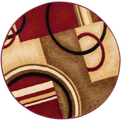 Barclay Arcs and Shapes Red 8 ft. Modern Geometric Round Area Rug