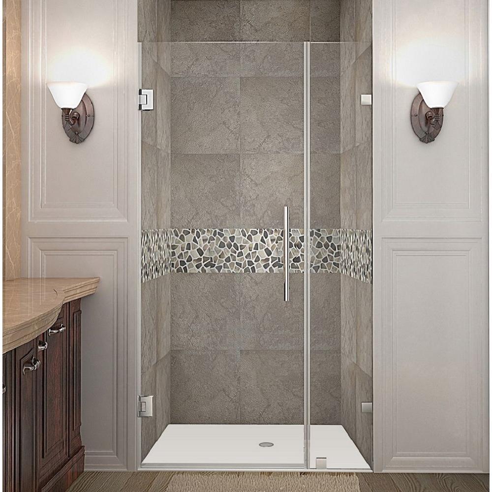 Nautis 33 in. x 72 in. Frameless Hinged Shower Door in