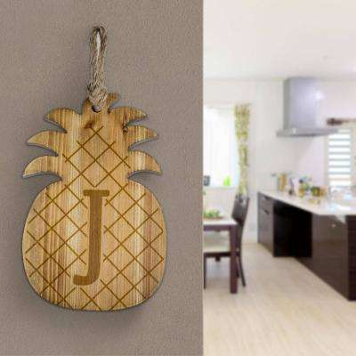 Wood Pineapple Hanging Initial Wall Letter J