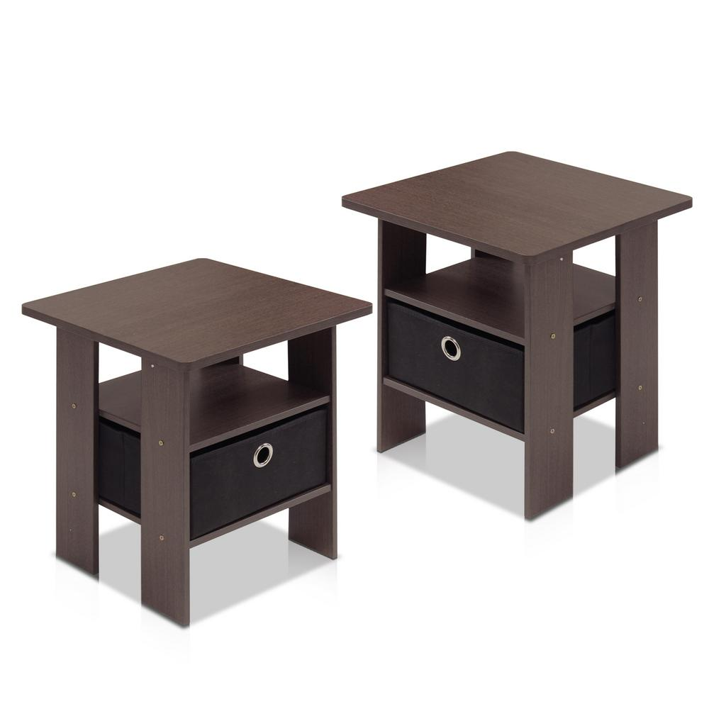 Home Living Dark Brown and Black Storage End Table (Set of