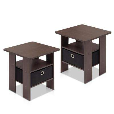 Home Living Dark Brown and Black Storage End Table (Set of 2)