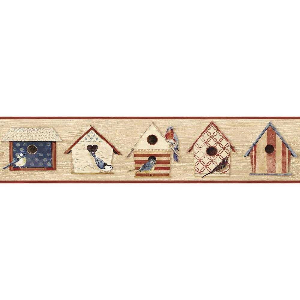 Cottage Chic Birdhouses Dark Red Wallpaper Border Sample