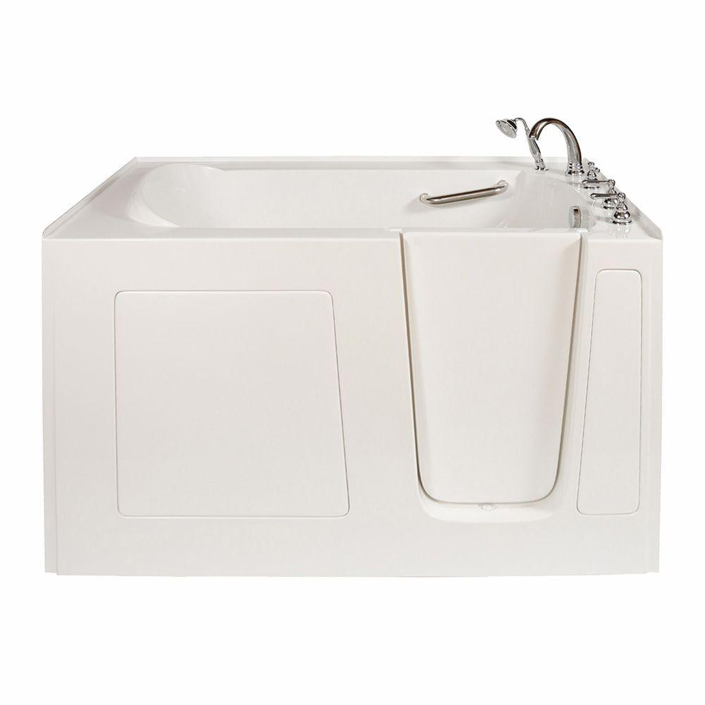 Long 5 ft. x 32 in. Walk-In Bathtub in White with