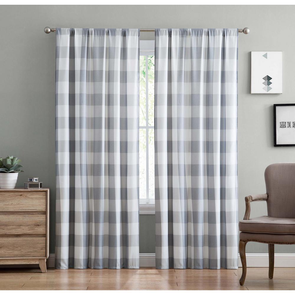 Truly soft everyday buffalo plaid gray drape set