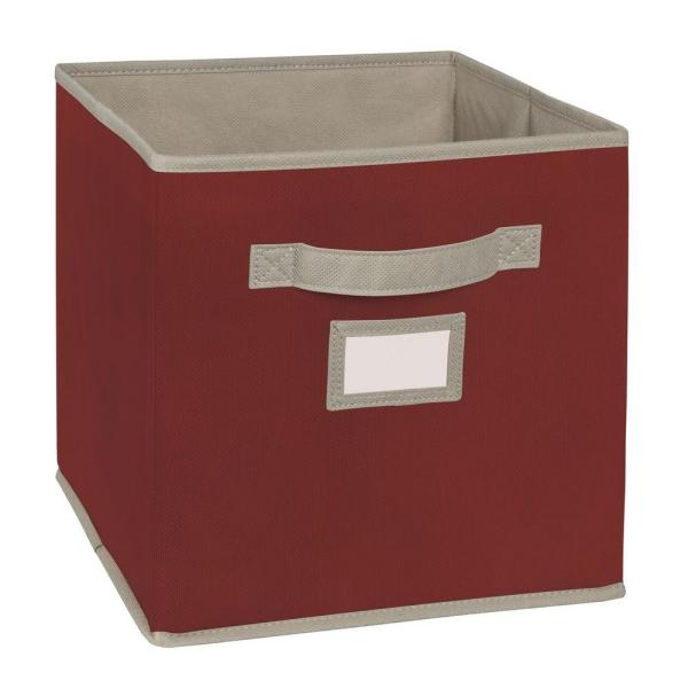 11 in. D x 11 in. H x 11 in. W Red Fabric Cube Storage Bin