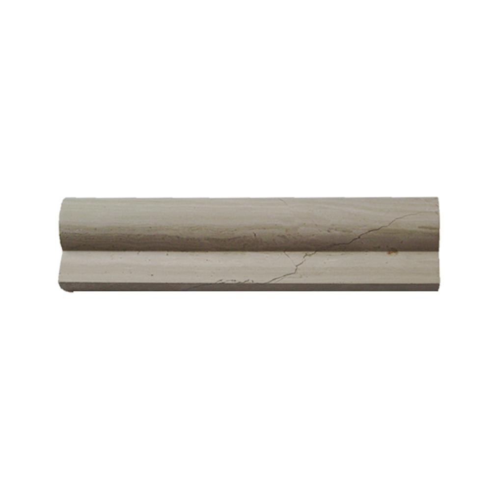 Ivy Hill Tile Brushed Wooden Beige 2 in  x 8 in  Honed Marble Chair Rail  Trim Tile