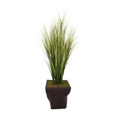 70 in. Tall Onion Grass with Twigs in 17 in. Fiberstone Planter