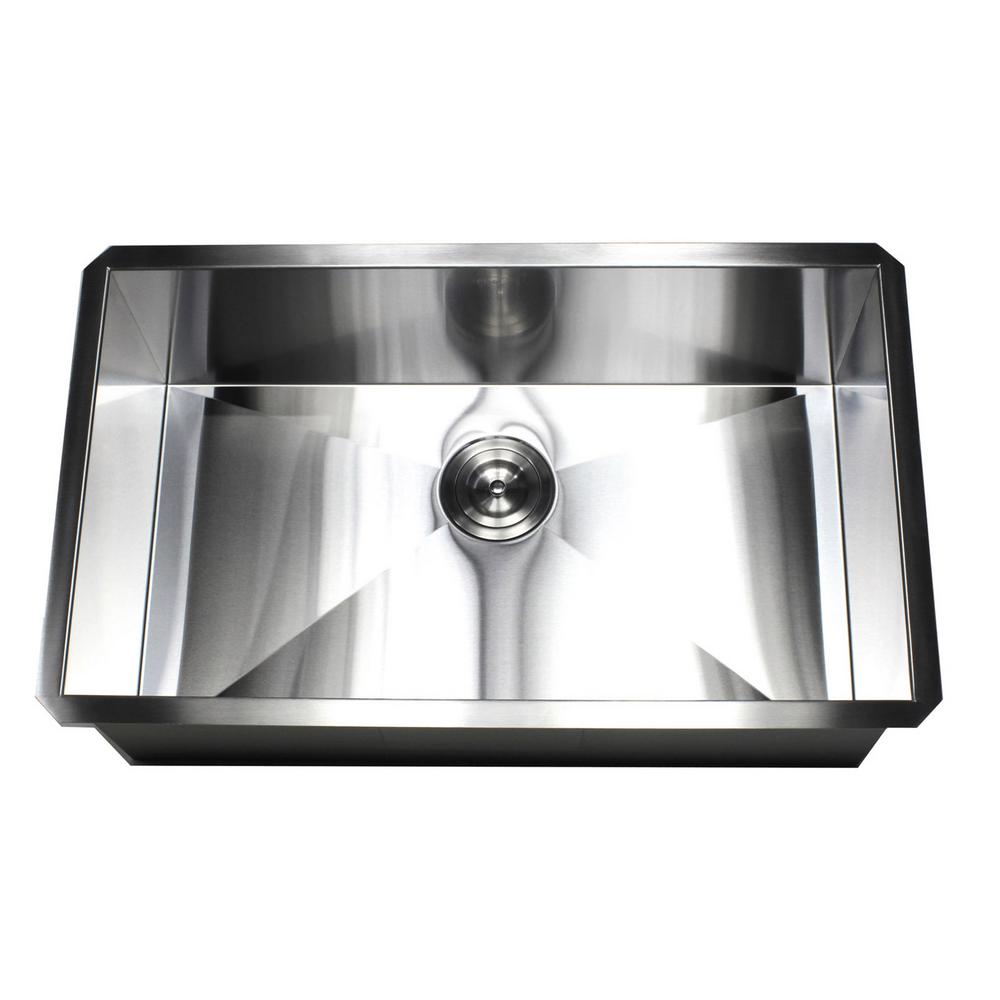 Undermount 16-Gauge Stainless Steel 30 in. x 18 in. x 10 in. Deep Single Bowl Zero Radius Kitchen Sink  sc 1 st  The Home Depot & Kingsman Hardware Undermount 16-Gauge Stainless Steel 30 in. x 18 in ...