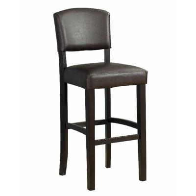 45.25 in. H Brown Wooden Bar Stool with Padded Upholstered Seat and Backrest