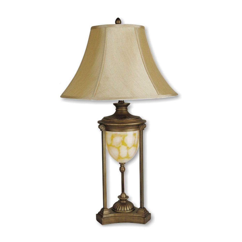 ORE International 31 in. Gold Table Lamp with Night Light